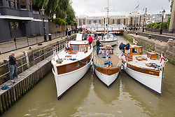 September 6, 2017 - London, London, UK - LONDON, UK.  Dunkirk Little Ships and their owners arrive at St Katharine Docks on the River Thames in preparation for the Classic Boat Festival this weekend. The Totally Thames Classic Boat Festival includes 40 vintage work boats, sailing and motor yachts and 14 of the Dunkirk Little Ships. (Credit Image: © Vickie Flores/London News Pictures via ZUMA Wire)