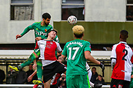 Watford defender Miguel Angel Britos (3) heads towards goal during the The FA Cup 3rd round match between Woking and Watford at the Kingfield Stadium, Woking, United Kingdom on 6 January 2019.