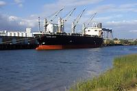 Container ship at the Port of Sacramento, California.