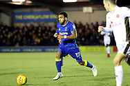 AFC Wimbledon striker Andy Barcham (17) dribbling during the EFL Sky Bet League 1 match between AFC Wimbledon and Walsall at the Cherry Red Records Stadium, Kingston, England on 25 November 2017. Photo by Matthew Redman.