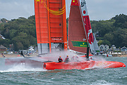 SailGP Team China approaching the top mark in race one. Race Day. Event 4 Season 1 SailGP event in Cowes, Isle of Wight, England, United Kingdom. 11 August 2019: Photo Chris Cameron for SailGP. Handout image supplied by SailGP