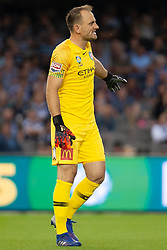 February 23, 2019 - Melbourne, VIC, U.S. - MELBOURNE, VIC - FEBRUARY 23: Melbourne City goalkeeper Eugene Galekovic (18) gestures at round 20 of the Hyundai A-League Soccer between Melbourne City FC and Melbourne Victory on February 23, 2019 at Marvel Stadium, VIC. (Photo by Speed Media/Icon Sportswire) (Credit Image: © Speed Media/Icon SMI via ZUMA Press)