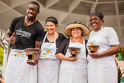 (L-R) First place winners Julius Jackson and Dawn Comissiong, second place winner Maura Hennessy, and third place winner, Rosie Pemberton.   Coal Pot Cook-Off  at Emancipation Garden raising funds for St. Thomas Historical Trust.  St. Thomas, VI.  19 May 2015.    © Aisha-Zakiya Boyd