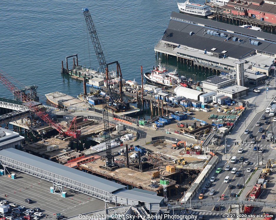 Construction activity at the north side of the Seattle Multimodal Terminal at Colman Dock Project.