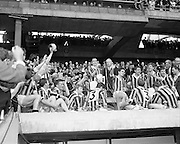07/09/1969<br /> 09/07/1969<br /> 7 September 1969<br /> All-Ireland Senior Hurling Final: Kilkenny v Cork at Croke Park, Dublin.  <br /> Kilkenny captain with the cup after the match. The president of the G.A.A. (Seamus O'Riain) is standing beside him.