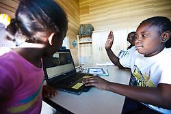 Children in nature education program, Trinity River Audubon Center, Dallas, Texas, USA.
