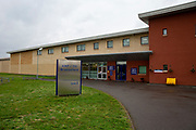 The entrance sign and entrance to HMP Bronzefield, a private prison run by Sodexo Justice Services on the outskirts of Ashford in Middlesex, United Kingdom. HMP Bronzefield is an adult and young offender female prison, the only purpose built private prison solely for women in the UK and is the largest female prison in Europe. (photo by Andy Aitchison)