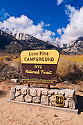Sign at Lone Pine Campground under Mount Whitney, Inyo National Forest, California USA