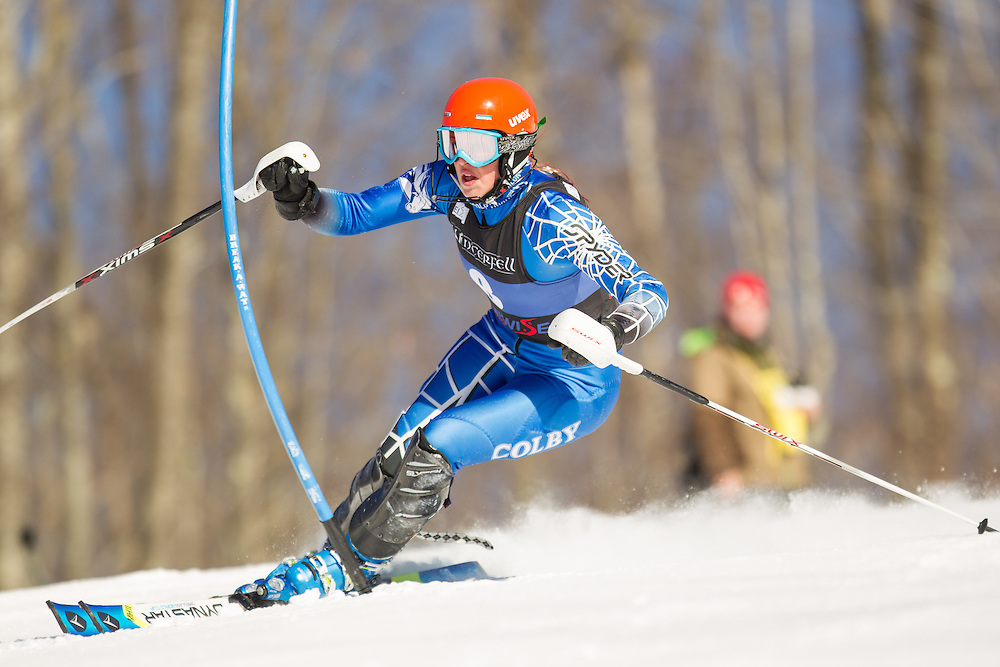 Mardene Haskell of Colby College, skis during the second run of the women's slalom at the Dartmouth Carnival at Dartmouth Skiway on February 8, 2014 in Lyme, NH. (Dustin Satloff/EISA)