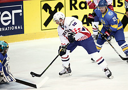 18.04.2016, Dom Sportova, Zagreb, CRO, IIHF WM, Ukraine vs Kroatien, Division I, Gruppe B, im Bild GLUMAC Michael // during the 2016 IIHF Ice Hockey World Championship, Division I, Group B, match between Uraine and Croatia at the Dom Sportova in Zagreb, Croatia on 2016/04/18. EXPA Pictures © 2016, PhotoCredit: EXPA/ Pixsell/ Sanjin Strukic<br /> <br /> *****ATTENTION - for AUT, SLO, SUI, SWE, ITA, FRA only*****