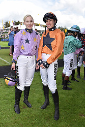 29 July 2021 - The QATAR Goodwood Festival Ladies Day at Goodwood Racecourse, West Sussex.<br /> Picture Shows - Thea Gosden Hood and Lady Tatiana Mountbatten.<br /> <br /> NON EXCLUSIVE - WORLD RIGHTS