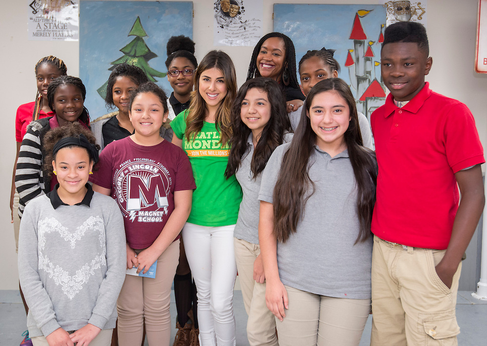 """Actress Daniella Monet talks with students during a """"Meatless Monday"""" program at Gregory-Lincoln Middle School, May 19, 2014."""