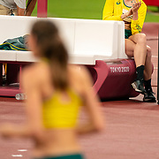 TOKYO, JAPAN August 7:   Nicola McDermott of Australia is encouraged by team mat  Eleanor Patterson of Australia during her fist attempt at 2.04m during her silver medal performance in the high jump final for women during the Track and Field competition at the Olympic Stadium  at the Tokyo 2020 Summer Olympic Games on August 7th, 2021 in Tokyo, Japan. (Photo by Tim Clayton/Corbis via Getty Images)