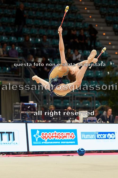Julia Evchik from Aurora Fano team during the Italian Rhythmic Gymnastics Championship in Bologna, 9 February 2019.