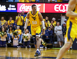 Dec 8, 2018; Morgantown, WV, USA; West Virginia Mountaineers forward Sagaba Konate (50) celebrates during the second half against the Pittsburgh Panthers at WVU Coliseum. Mandatory Credit: Ben Queen-USA TODAY Sports