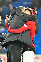 Football - 2018 / 2019 Premier League - Cardiff City vs. Manchester United<br /> <br /> Manchester Utd caretaker manager Ole Gunnar Solskjaer in his 1st game in charge celebrates victory with Jesse Lingard of Manchester Utd, at Cardiff City Stadium.<br /> <br /> COLORSPORT/WINSTON BYNORTH