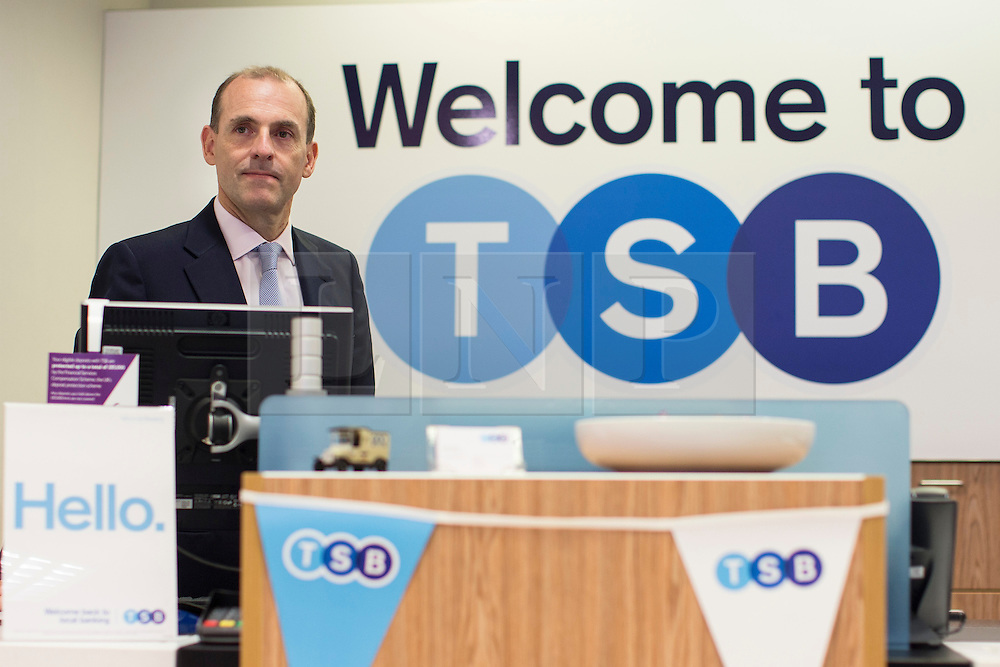 © licensed to London News Pictures. London, UK 09/09/2013. TSB chief executive Paul Pester opens a TSB branch in central London on the bank's first day of trading as more than 600 branches and eight million accounts have been split from Lloyds in order to meet European competition rules. Photo credit: Tolga Akmen/LNP