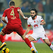 Galatasaray's Selcuk Inan (R) during their Turkish superleague soccer match Kardemir Karabukspor between Galatasaray Dr. Necmettin Seyhoglu stadium in Karabuk Turkey on Saturday 08 November 2014. Photo by Kurtulus YILMAZ/TURKPIX