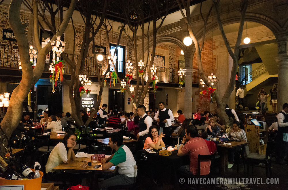 The Azul Historico restaurant in the Centro Historico district of Mexico City. It's located in the indoor courtyard of an historick building and serves modern Mexican cuisine.