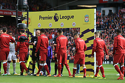 14th October 2017 - Premier League - Liverpool v Manchester United - Liverpool players wear warm-up tops with the letters 'YNWA' on the back, referring to the club's anthem 'You'll Never Walk Alone' - Photo: Simon Stacpoole / Offside.