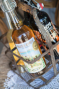 Close up of bottles with traditional french alcohol pastis, Bonifacio, Corsica, France