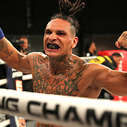 FORT LAUDERDALE, FL - FEBRUARY 15: Ulysses Diaz celebrates his knockout win over Brian Maxwell during the Bare Knuckle Fighting Championships at Greater Fort Lauderdale Convention Center on February 15, 2020 in Fort Lauderdale, Florida. (Photo by Alex Menendez/Getty Images) *** Local Caption *** Ulysses Diaz; Brian Maxwell