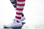 May 20, 2017: NASCAR Monster Energy All Star Race. Fan wearing American flag socks