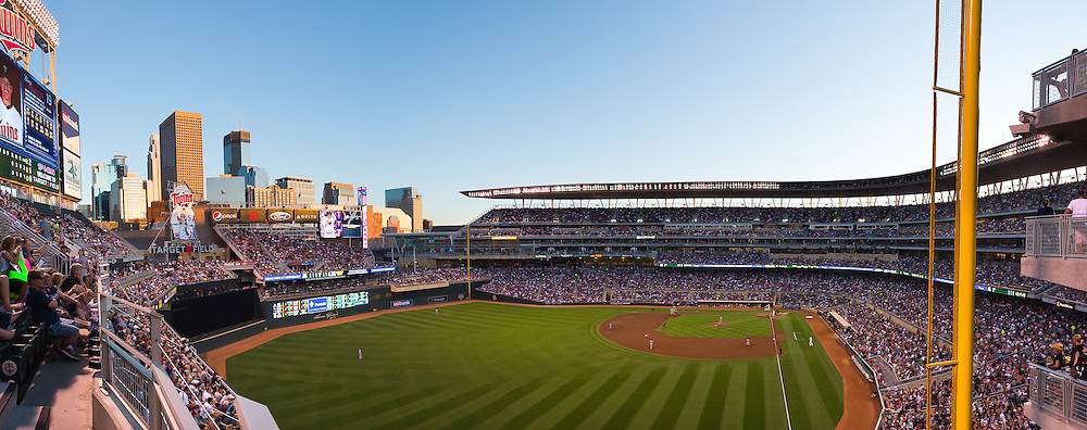[Note:  This panorama was stitched from multiple photos during post-processing] A panoramic view of Target Field during a game between the Minnesota Twins and Detroit Tigers on August 26, 2011 in Minneapolis, Minnesota.