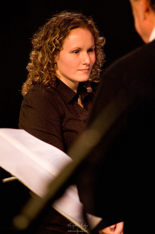 Megan Cooney stepping in to conduct the 2010 Rowan University's presentation of the Percussion Ensemble.