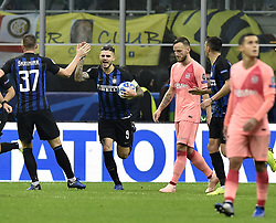 MILAN, Nov. 7, 2018  FC Inter's Mauro Icardi (2nd L) celebrates his goal during the UEFA Champions League Group B match between FC Inter and FC Barcelona in Milan, Italy, on Nov. 6, 2018. The match ended with 1-1 draw. (Credit Image: © Augusto Casasoli/Xinhua via ZUMA Wire)
