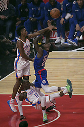 October 19, 2018 - Los Angeles, California, U.S - Patrick Beverley #21 of the Los Angeles Clippers tries to shoot over Terrance Ferguson #23 of the Oklahoma Thunder during their NBA game on Friday October 19, 2018 at the Staples Center in Los Angeles, California. Clippers defeat Thunder, 108-92. (Credit Image: © Prensa Internacional via ZUMA Wire)