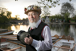 "© Licensed to London News Pictures. 01/05/2015. Stratford upon Avon, Warwickshire, UK. The Shakespeare Morris Men ""Dance in the Dawn"" on the banks of the River Avon near the centre of Stratford upon Avon on the first day of May. Pictured, Alan Whitbread with his original English Concertina. Photo credit : Dave Warren/LNP"