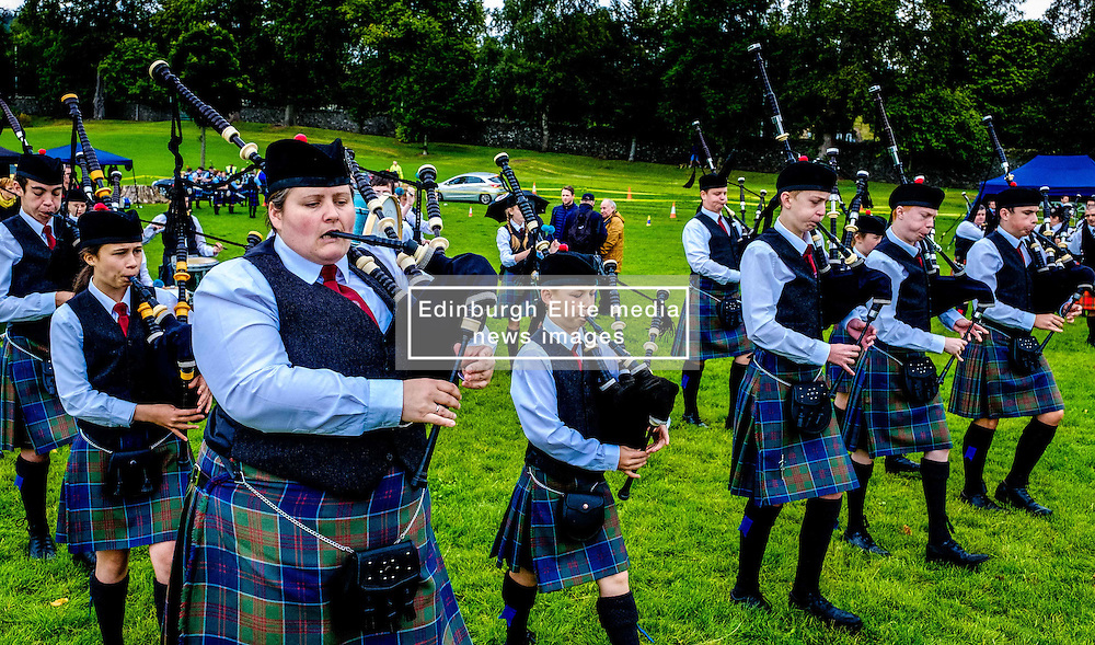 Peebles, Scotland UK  3rd September 2016. Peebles Highland Games, the biggest 'highland' games in the Scottish  Borders took place in Peebles on September 3rd 2016 featuring pipe band contests, highland dancing competitions, haggis hurling, hammer throwing, stone throwing and other traditional events.<br /> <br /> Pictured:   the Davidsons Mains and District Pipe Band<br /> <br /> (c) Andrew Wilson | Edinburgh Elite media