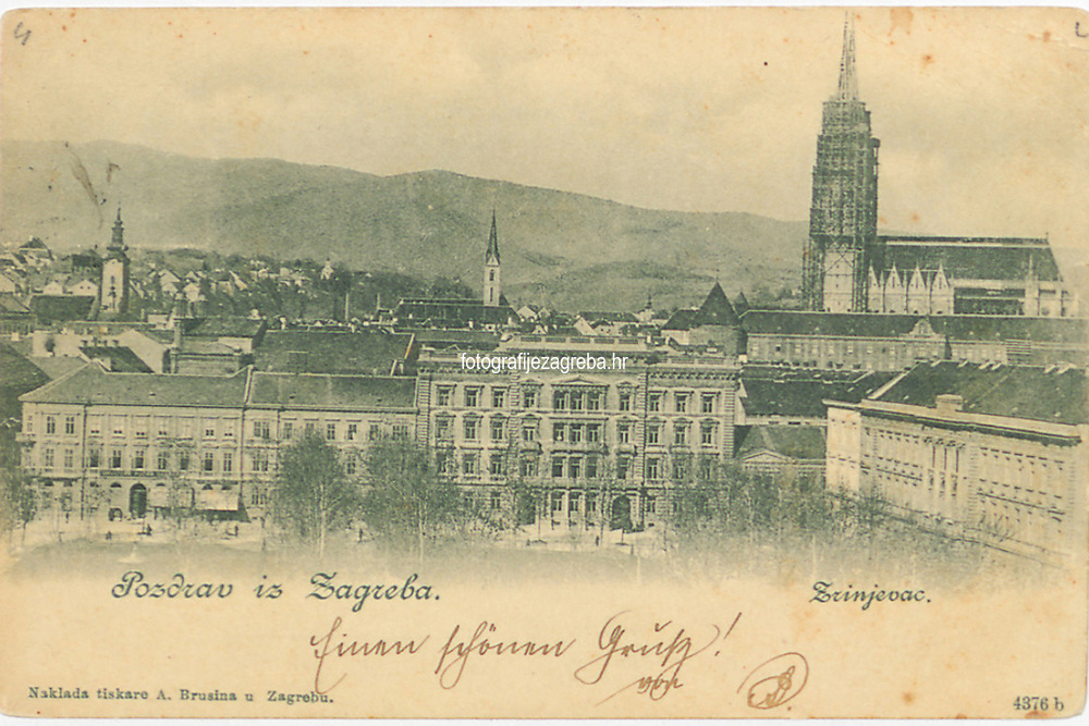 Pozdrav iz Zagreba : Zrinjevac. <br /> <br /> ImpresumZagreb : Tiskara A. Brusina, [1899].<br /> Materijalni opis1 razglednica : svjetlotisak ; 9 x 13.9 cm.<br /> NakladnikTiskara A. Brusina<br /> Mjesto izdavanjaZagreb<br /> Vrstavizualna građa • razglednice<br /> ZbirkaZbirka razglednica • Grafička zbirka NSK<br /> Formatimage/jpeg<br /> PredmetZagreb –– Trg Nikole Šubića Zrinskog<br /> Jezikhrvatski<br /> Obuhvat(vremenski)19. stoljeće<br /> NapomenaRazglednica je putovala 1899. godine. • Poleđina razglednice je namijenjena samo za adresu<br /> PravaJavno dobro<br /> Identifikatori000921116<br /> NBN.HRNBN: urn:nbn:hr:238:261712 <br /> <br /> Izvor: Digitalne zbirke Nacionalne i sveučilišne knjižnice u Zagrebu