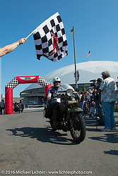 Greg McFarland riding his 1926 Harley-Davidson JD over the finish line at the end of stage 16 (142 miles) of the Motorcycle Cannonball Cross-Country Endurance Run, which on this day ran from Yakima to Tacoma, WA, USA. Sunday, September 21, 2014.  Photography ©2014 Michael Lichter.