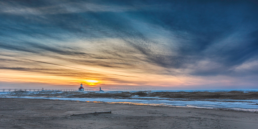 The sky was a swirl of color on this winter's eve in St. Joseph, Michigan