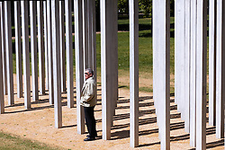 © licensed to London News Pictures. LONDON, UK  02/05/2011. A man looks at the July 7 bombing memorial in Hyde Park the day after the US Government announces that Osama Bin Laden has been killed in Pakistan. Please see special instructions for usage rates. Photo credit should read CLIFF HIDE/LNP