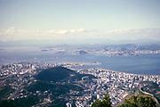 View over city of Rio de Janeiro, Brazil, South America 1962 to Guanabara Bay