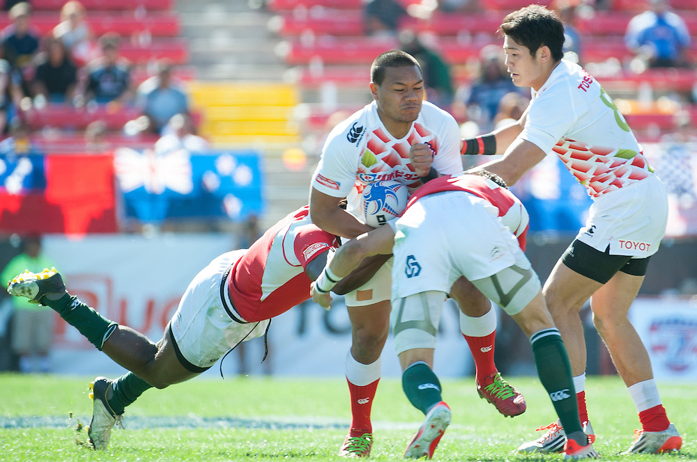 Teams compete in pool play for the USA Sevens leg of the 2015 HSBC Sevens World Series  at Sam Boyd Stadium in Las Vegas, Nevada. Friday February 13, 2015.<br /> <br /> COPYRIGHT © JACK MEGAW, 2015. <br /> <br /> www.jackmegaw.com