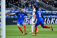 NGolo Kante of France celebrates scoring the first goal for his team with teammate Andre Pierre Gignac during the International Friendly Game 2016 football match between France and Russia on March 29, 2016 at Stade de France in Saint Denis, France - Photo Jean Marie Hervio / Regamedia / DPPI