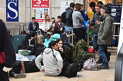 © Licensed to London News Pictures. 17/10/2018. London, UK. The scene at Paddington Railway Station after damage was caused to overhead electric cables late last night. All Great Western services to Slough are cancelled with Heathrow trains also affected. Network Rail say disruption is likely to last all day. Photo credit: Ben Cawthra/LNP