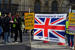 Leave counter-protest at Brexit People's Vote march, London 19 October 2019 UK