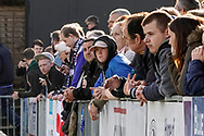 Fans watch the warm ups during the The FA Cup 1st round match between Maidenhead United and Portsmouth at York Road, Maidenhead, United Kingdom on 10 November 2018.