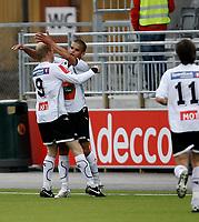 Fotball <br /> Adeccoligaen<br /> AKA Arena , Hønefoss <br /> 26.04.09<br /> Hønefoss BK  v Sarpsborg 08  3-1<br /> <br /> Foto: Dagfinn Limoseth, Digitalsport<br /> Lars Lafton og Kamal Saaliti , Hønefoss