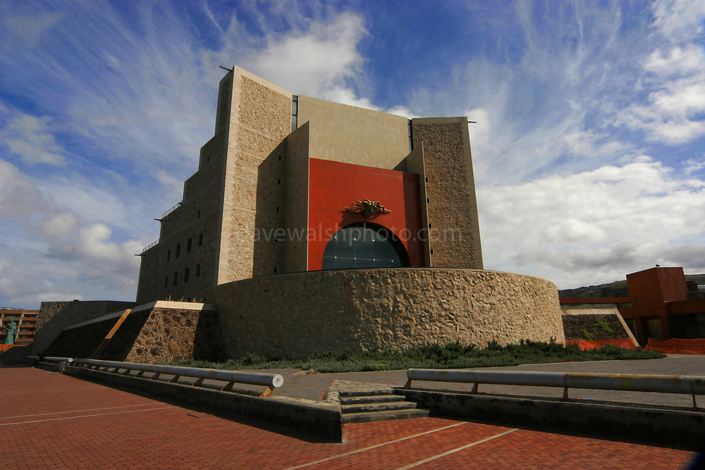 Auditorio (Auditorium) Alfredo Kraus, Las Canteras beach, Las Palmas, Gran Canaria, Canary Islands. Designed by rchitect Oscar Tusquets and the sculptor Juan Bordes as being an auditorium it also incorporates the Palacio de Congresos de Canarias (Canary Islands Congress Centre)