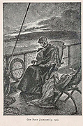 Off Port Jackson from the book ' Mistress Branican ' by Jules Verne, illustrated by Leon Benett. The story begins in the United States, where the heroine, Mistress Branican, suffers a mental breakdown after the death by drowning of her young son. On recovering, she learns that her husband, Captain Branican, has been reported lost at sea. Having acquired a fortune, she is able to launch an expedition to search for her husband, who she is convinced is still alive. She leads the expedition herself and trail leads her into the Australian hinterland. Mistress Branican (French: Mistress Branican, 1891) is an adventure novel written by Jules Verne and based on Colonel Peter Egerton Warburton and Ernest Giles accounts of their journeys across the Western Australian deserts, and inspired by the search launched by Lady Franklin when her husband Sir John Franklin was reported lost in the Northwest Passage. Translated by A. Estoclet, Published in New York, Cassell Pub. Co. 1891.