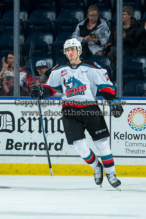KELOWNA, BC - FEBRUARY 12: Alex Swetlikoff #17 of the Kelowna Rockets celebrates a second period goal against the Tri-City Americans at Prospera Place on February 8, 2020 in Kelowna, Canada. (Photo by Marissa Baecker/Shoot the Breeze)