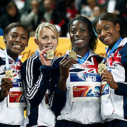 (from L-R) Great Britain's S. Cox, Nicola Sanders, Christine Ohuruogo and Peri Shakes-Drayton pose on the podium with their gold medals during the medal ceremony for the women's 4x400m relay at the during the IAAF World Indoor Championships at the Atakoy Athletics Arena, Istanbul, Turkey. Photo by TURKPIX