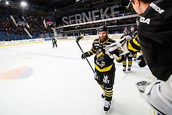 February 24, 2019 - Stockholm, SVERIGE - 190224 AIK:s Christian Sandberg jublar efter 4-3 under ishockeymatchen i Hockeyallsvenskan mellan AIK och SÅ¡dertÅlje den 24 februari 2019 i Stockholm  (Credit Image: © Maxim Thor/Bildbyran via ZUMA Press)