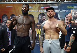 Joshua Buatsi (left) and Andrejs Pokumeiko during the weigh-in at Spitalfields Market, London.